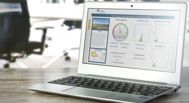 Assens Kommunes eviShine-system vist på laptop